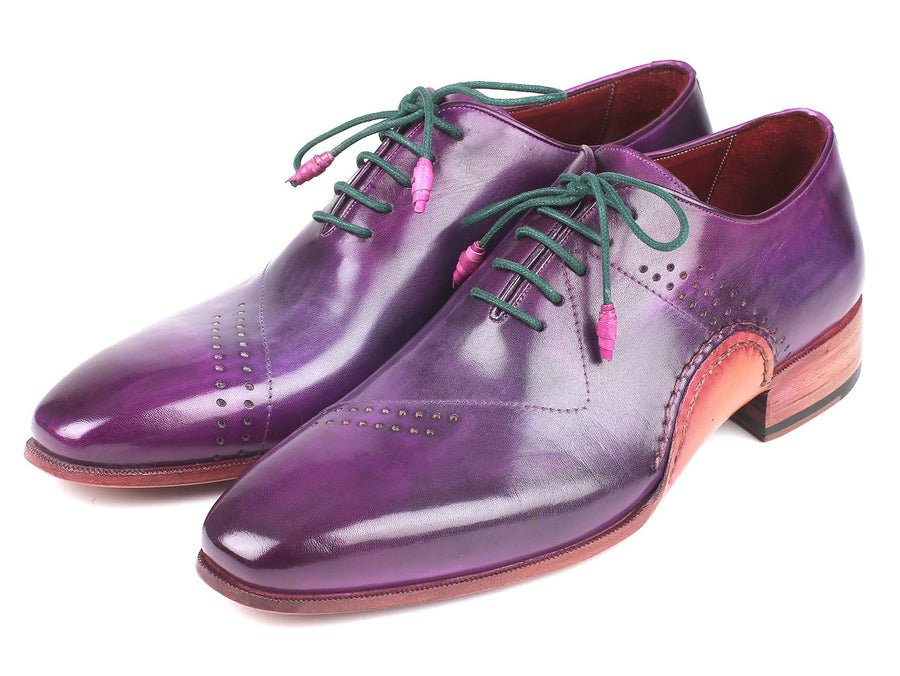 Paul Parkman Opanka Construction Purple Hand-Painted Oxfords EU 42 - US 9 / 9.5