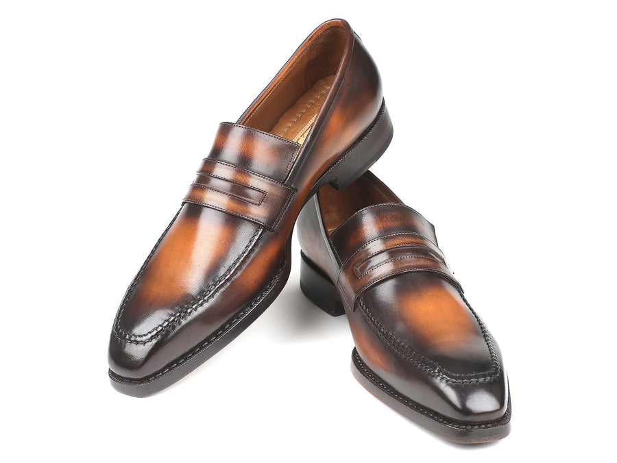 Paul Parkman Brown Burnished Goodyear Welted Loafers EU 38 - US 6