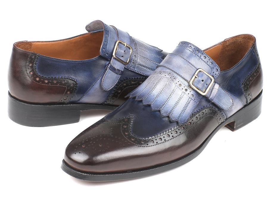 Paul Parkman Kiltie Monkstraps Blue & Brown