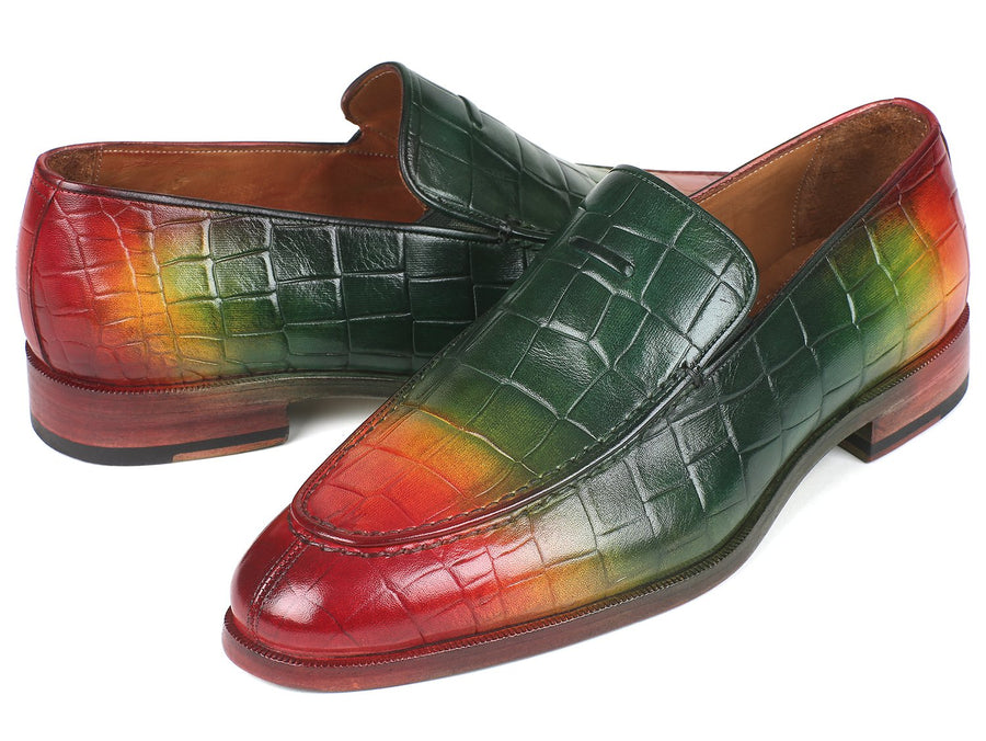 Paul Parkman Crocodile Embossed Calfskin Multicolor Loafer EU 42 - US 9 / 9.5