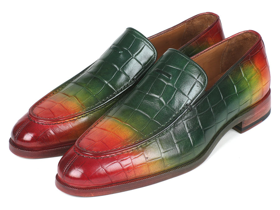 Paul Parkman Crocodile Embossed Calfskin Multicolor Loafer EU 40 - US 7.5
