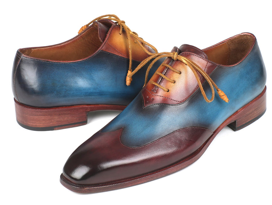 Paul Parkman Three Tone Wingtip Oxfords Bordeaux & Blue & Camel EU 42 - US 9 / 9.5