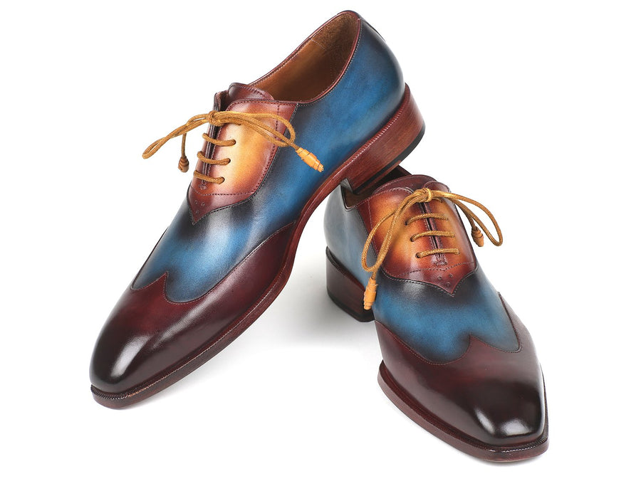 Paul Parkman Three Tone Wingtip Oxfords Bordeaux & Blue & Camel EU 39 - US 6.5 / 7