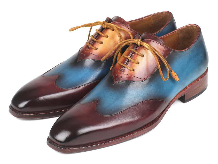 Paul Parkman Three Tone Wingtip Oxfords Bordeaux & Blue & Camel EU 40 - US 7.5