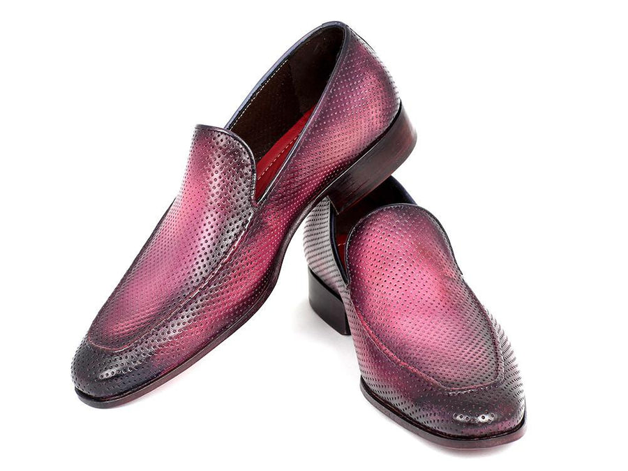Paul Parkman Perforated Leather Loafers Purple EU 40 - US 7.5