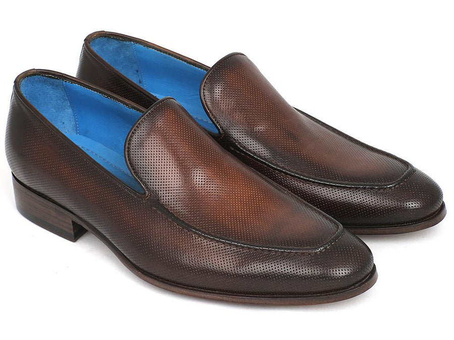 Paul Parkman Perforated Leather Loafers Brown EU 38 - US 6