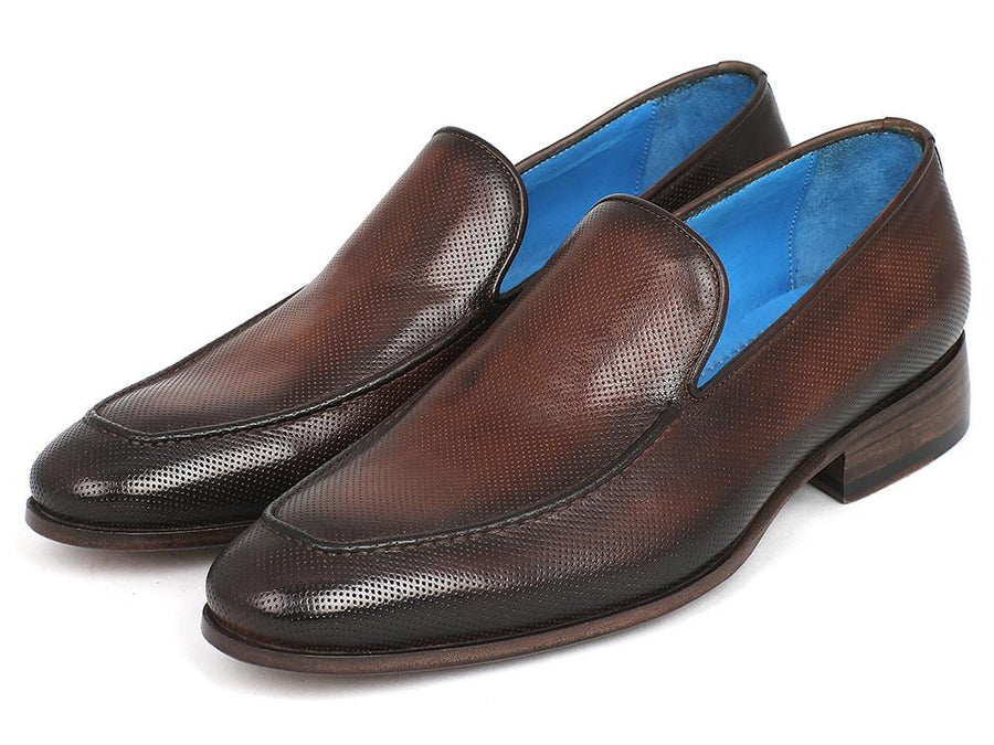 Paul Parkman Perforated Leather Loafers Brown EU 41 - US 8 / 8.5