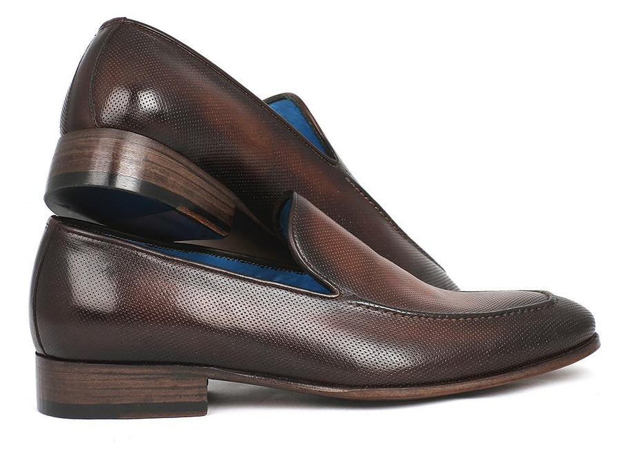 Paul Parkman Perforated Leather Loafers Brown EU 42 - US 9 / 9.5
