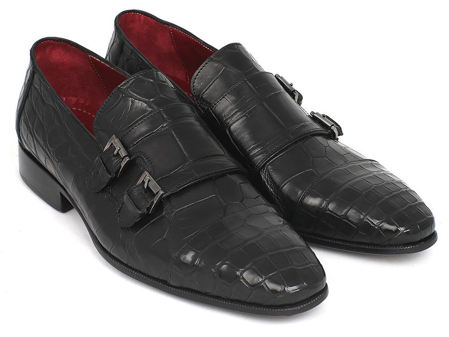 Paul Parkman Genuine Crocodile Black Double Monkstraps EU 39 - US 6.5 / 7