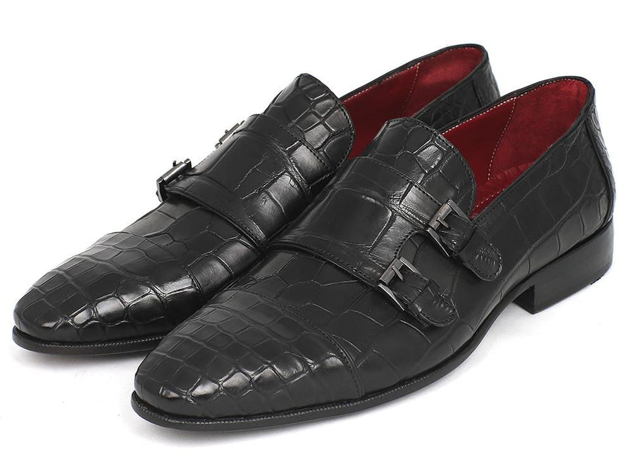 Paul Parkman Genuine Crocodile Black Double Monkstraps EU 42 - US 9 / 9.5