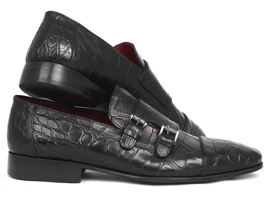 Paul Parkman Genuine Crocodile Black Double Monkstraps EU 38 - US 6