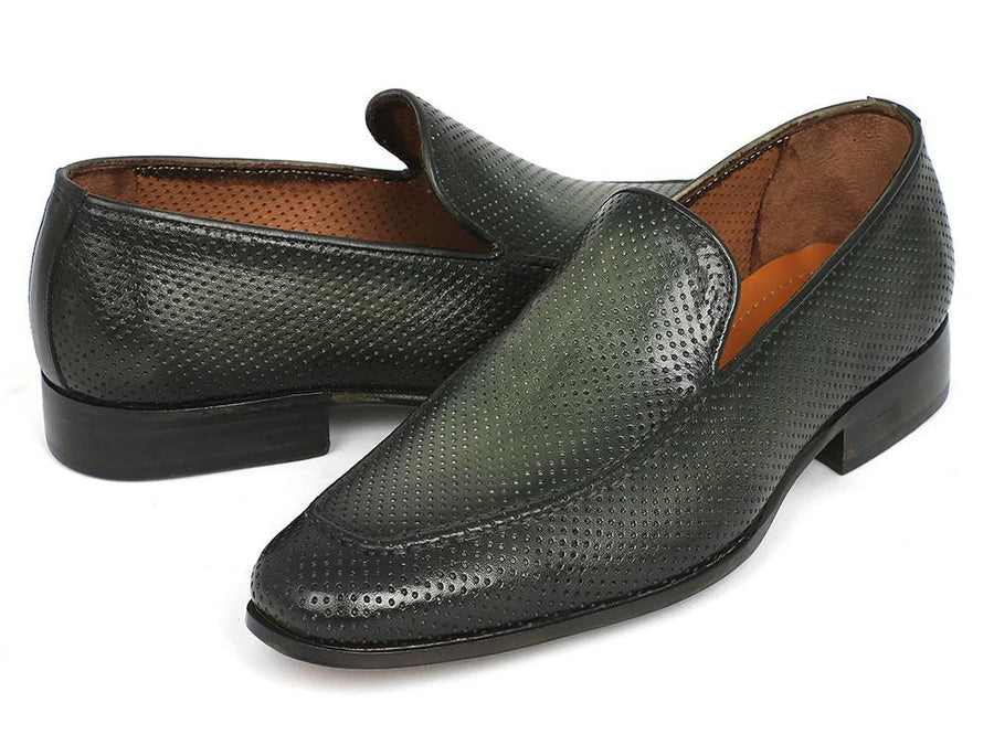 Paul Parkman Perforated Leather Loafers Green '-----