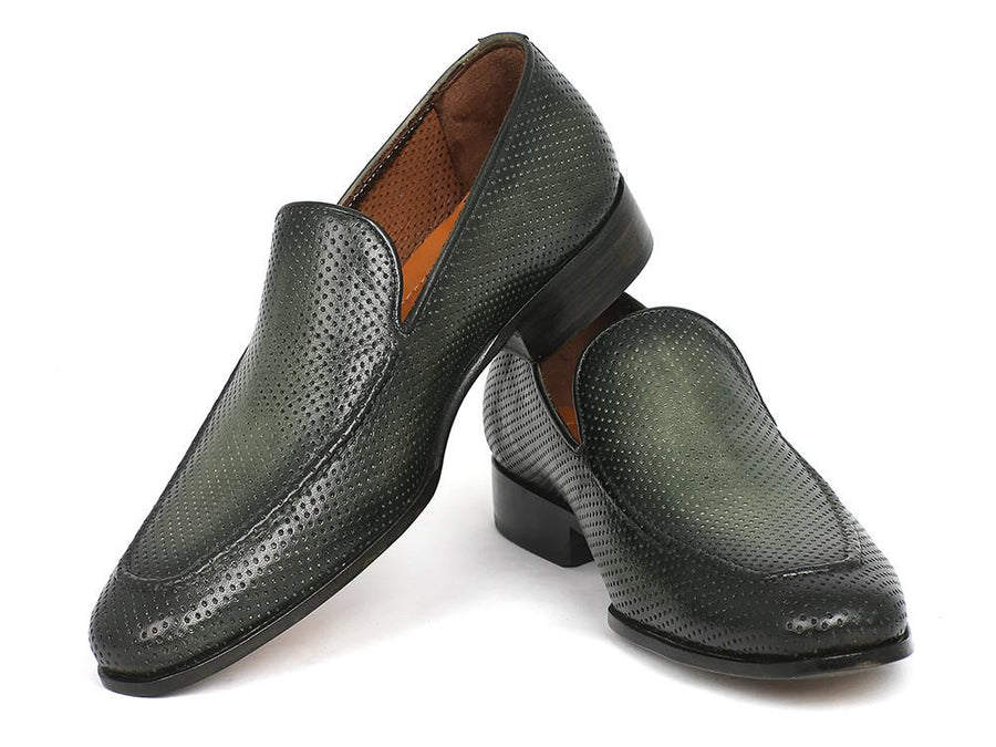 Paul Parkman Perforated Leather Loafers Green EU 40 - US 7.5