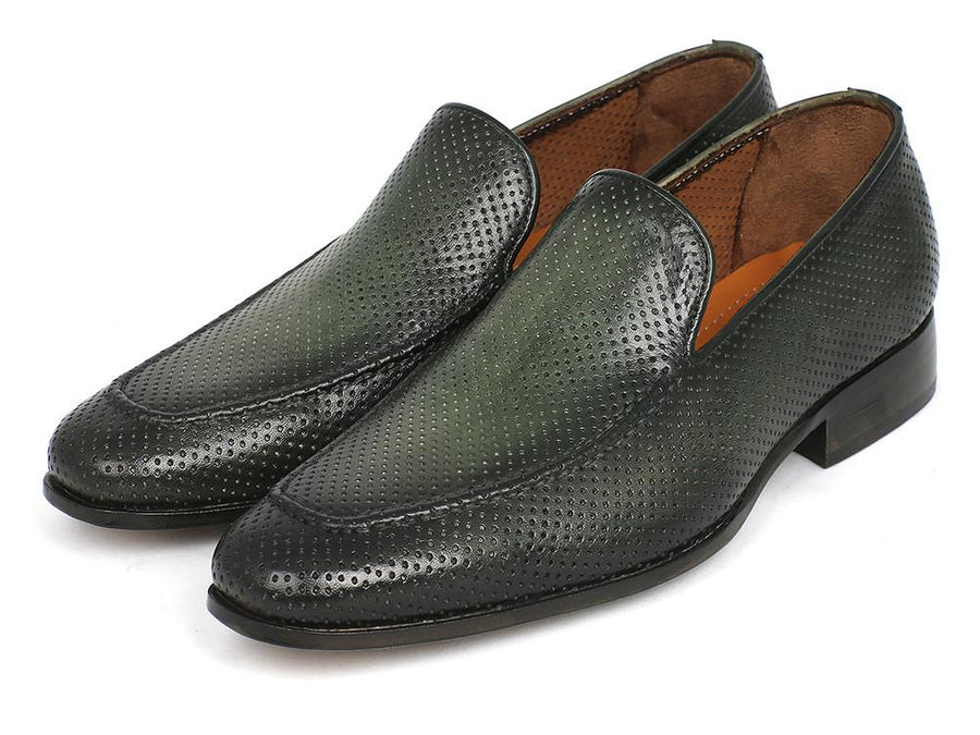 Paul Parkman Perforated Leather Loafers Green EU 41 - US 8 / 8.5