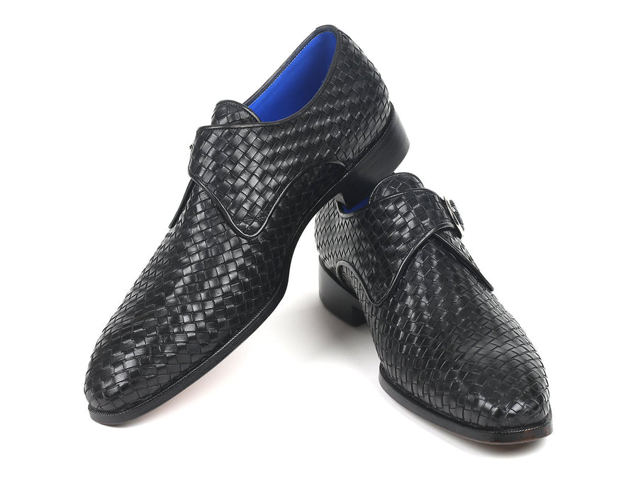 Paul Parkman Black Woven Leather Single Monkstraps EU 38 - US 6