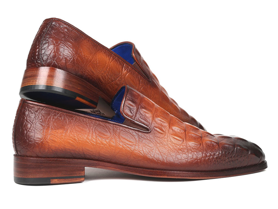 Paul Parkman Brown Crocodile Embossed Calfskin Loafers EU 38 - US 6