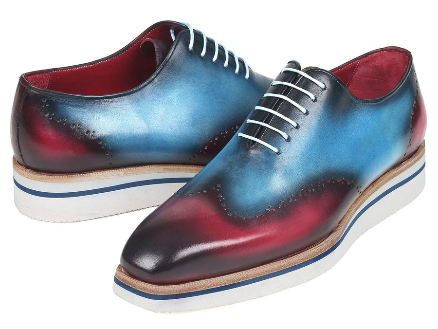 Paul Parkman Men's Smart Casual Wingtip Oxfords Blue & Purple EU 39 - US 6.5 / 7