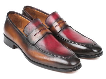 Paul Parkman Brown & Bordeaux Dual Tone Loafers for Men EU 38 - US 6
