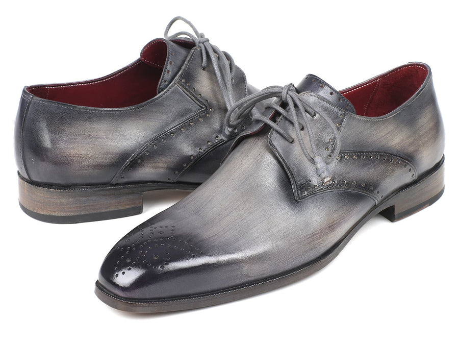 Paul Parkman Men's Gray Medallion Toe Derby Shoes EU 42 - US 9 / 9.5