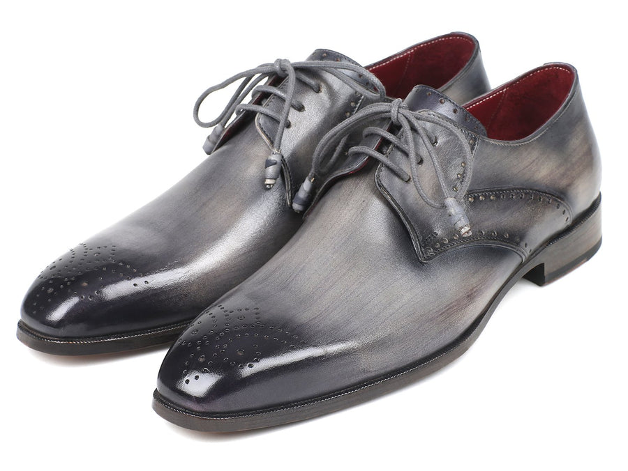 Paul Parkman Men's Gray Medallion Toe Derby Shoes EU 40 - US 7.5