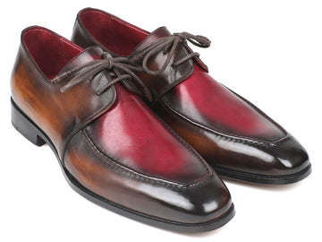 Paul Parkman Brown & Bordeaux Dual Tone Apron Derby Shoes EU 38 - US 6