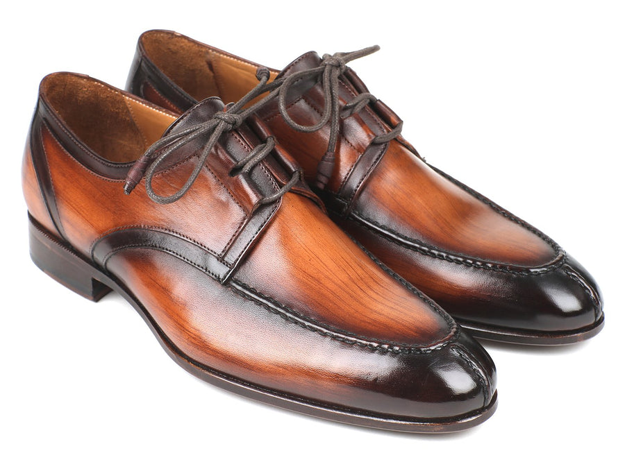 Paul Parkman Ghillie Lacing Brown Burnished Dress Shoes '-----