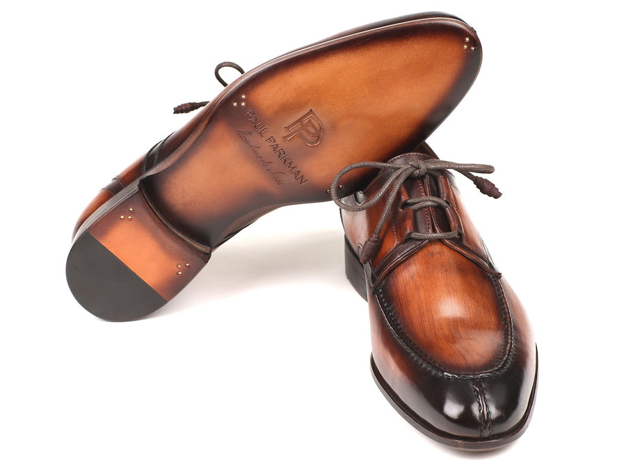 Paul Parkman Ghillie Lacing Brown Burnished Dress Shoes EU 39 - US 6.5 / 7