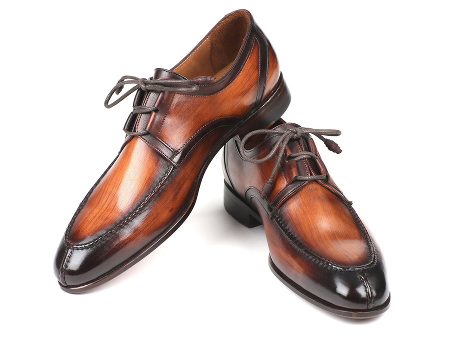Paul Parkman Ghillie Lacing Brown Burnished Dress Shoes EU 40 - US 7.5