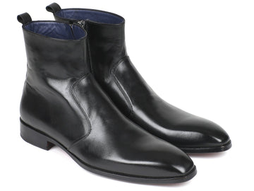 Paul Parkman Black Leather Side Zipper Boots EU 38 - US 6