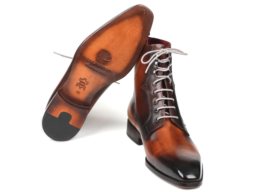 Paul Parkman Men's Brown Burnished Leather Lace-Up Boots EU 38 - US 6