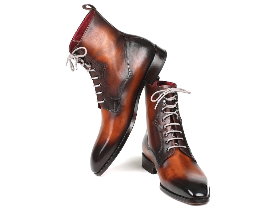 Paul Parkman Men's Brown Burnished Leather Lace-Up Boots EU 40 - US 7.5