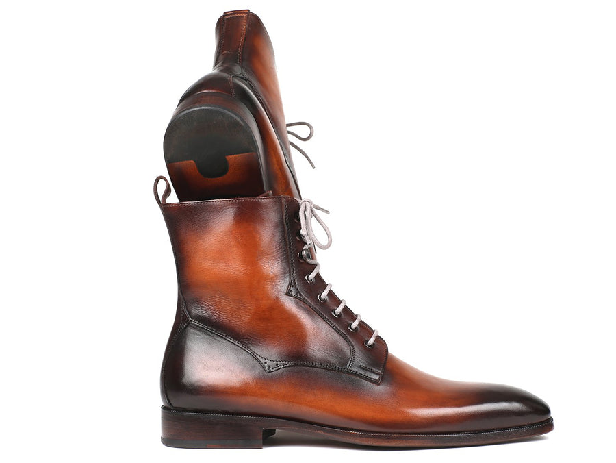 Paul Parkman Men's Brown Burnished Leather Lace-Up Boots EU 42 - US 9 / 9.5