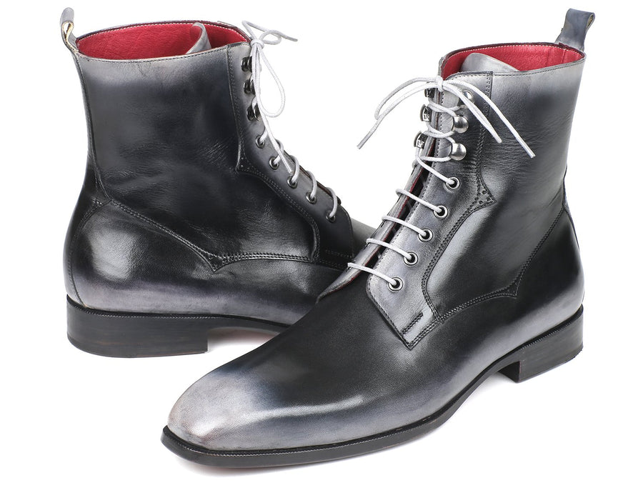 Paul Parkman Men's Gray Burnished Leather Lace-Up Boots EU 38 - US 6