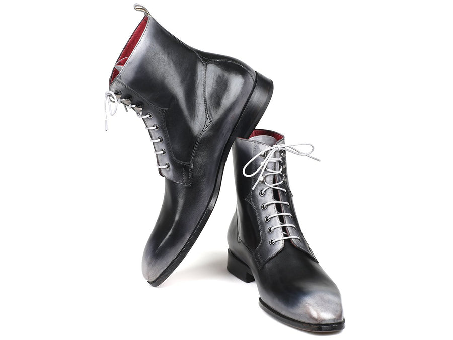 Paul Parkman Men's Gray Burnished Leather Lace-Up Boots EU 40 - US 7.5