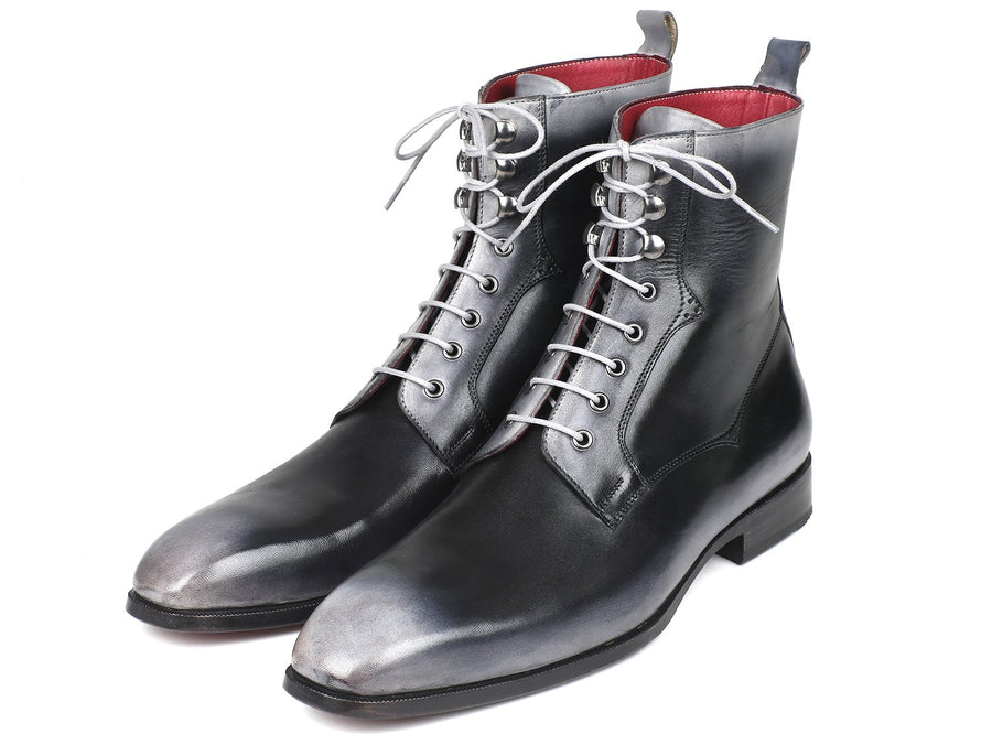Paul Parkman Men's Gray Burnished Leather Lace-Up Boots EU 41 - US 8 / 8.5