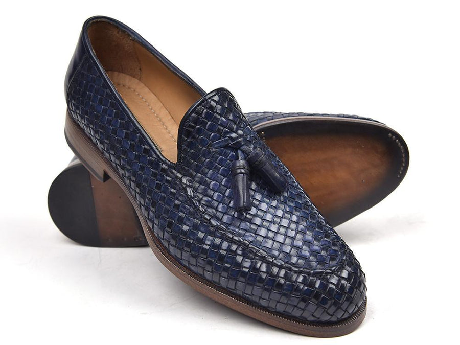 Paul Parkman Woven Leather Tassel Loafers Navy EU 38 - US 6