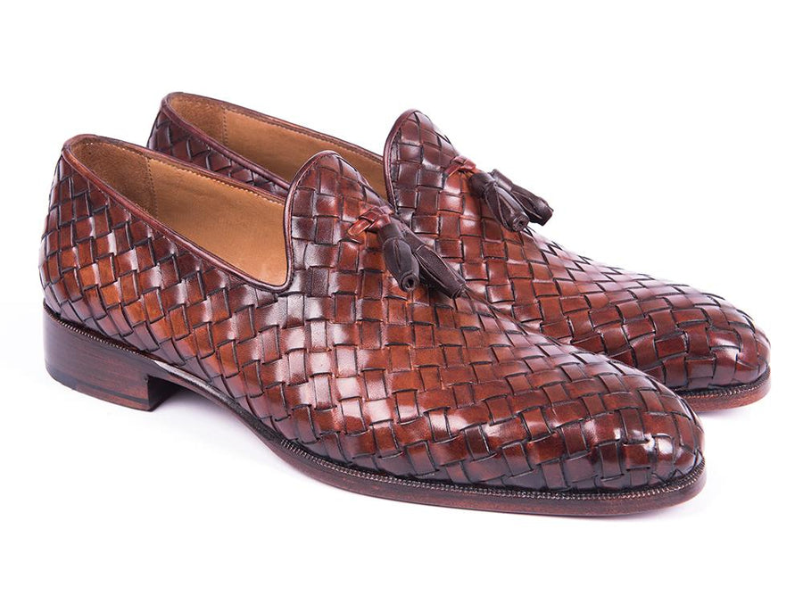 Paul Parkman Woven Leather Tassel Loafers Brown '-----