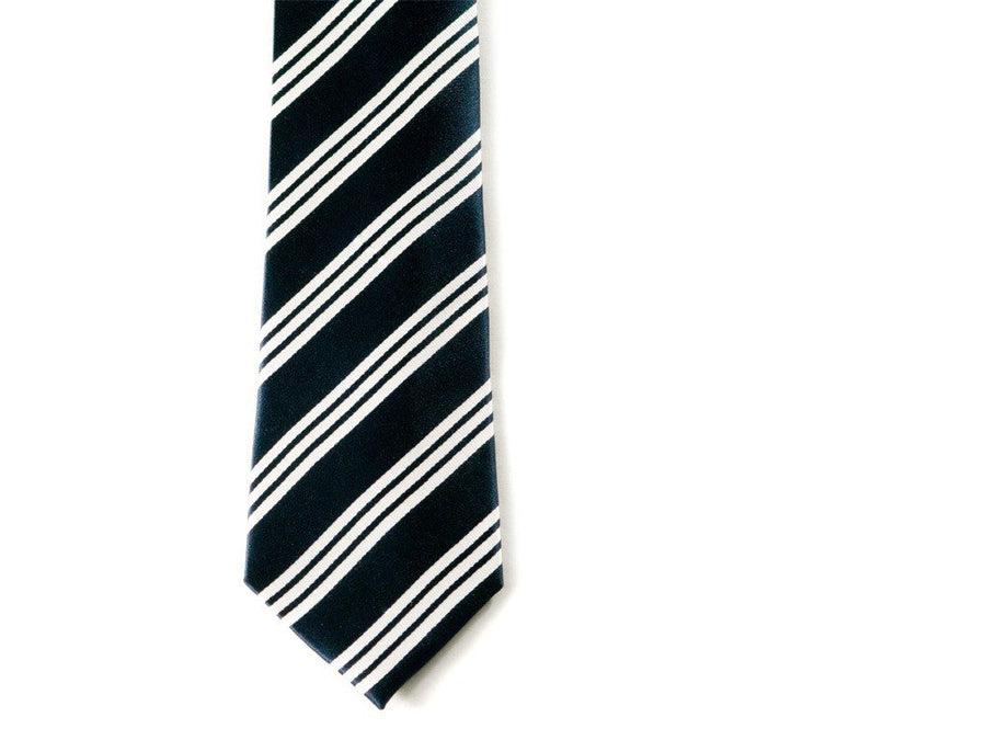 Blue and White Striped Necktie