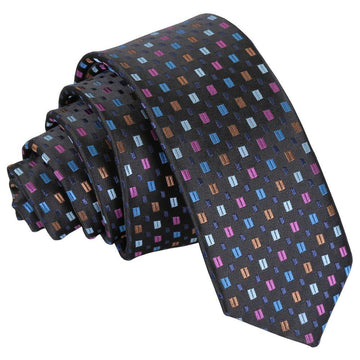 Bohemian Geometric Skinny Tie Black with Blue and Pink