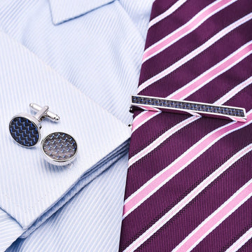 Carbon Fiber Cufflinks and Tie Bar Set