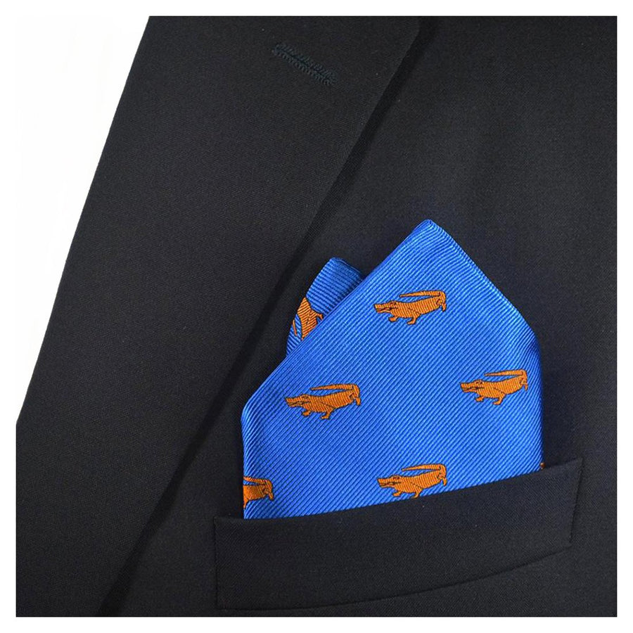 Alligator Silk Pocket Square - Blue