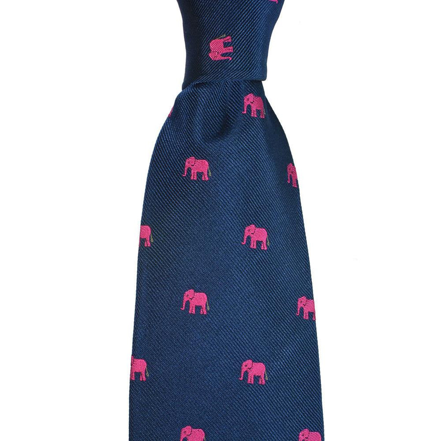 Elephant Silk Necktie - Pink on Navy Extra Long
