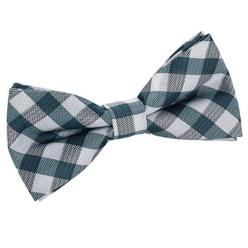 Gingham Check Pre-Tied Bow Tie Turquoise