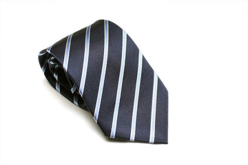 Ocean Blue Striped Necktie