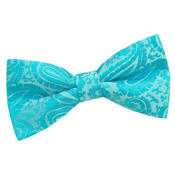 Paisley Pre-Tied Bow Tie Turquoise