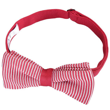 Pin Stripe Knitted Pre-Tied Bow Tie Red