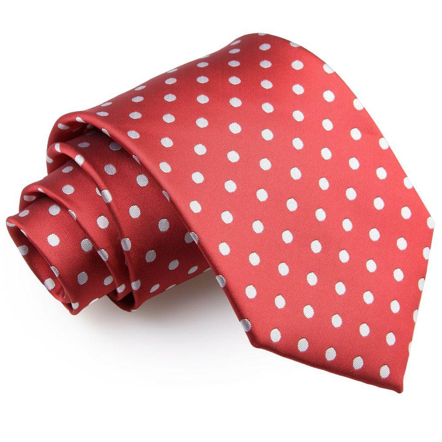 Polka Dot Classic Tie Dark Red