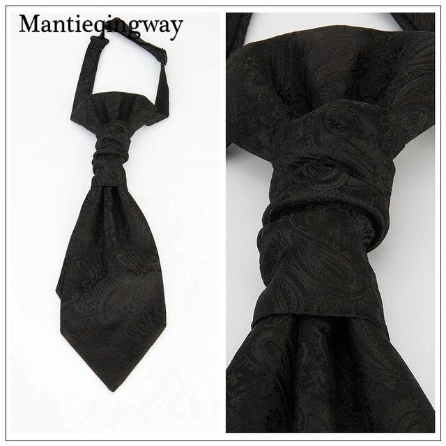 Classic Double Neck Ties For for Wedding Gravata black