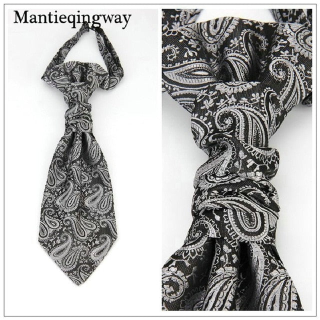 Classic Double Neck Ties For for Wedding Gravata silver grey