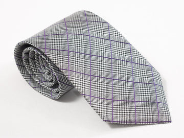 Purple Check On Grey Necktie